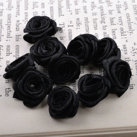 tiny black ribbon roses
