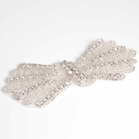 Bow diamante applique for wedding sash or heaband
