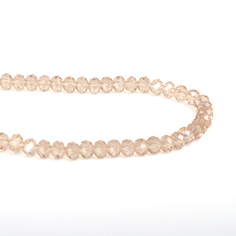 Faceted Crystal Rondelle Beads - Champagne (4 x 6mm)
