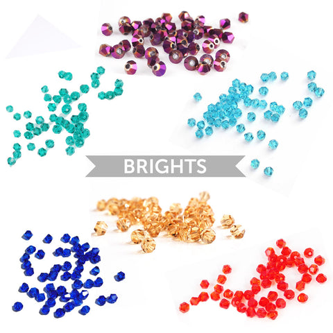 c0c74faf6aa33 300 Faceted Crystal Bicone Beads - 4mm (6 x 50 pack) - Brights