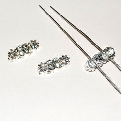 Diamante Findings Rectangle - Silver/AB (5 x 13mm), Pack of 5