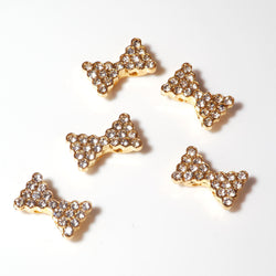 Diamante Bow - Gold (9 x 15mm), Pack of 5
