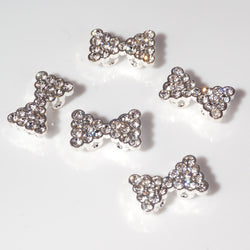 Diamante Bow - Silver (9 x 15mm), Pack of 5