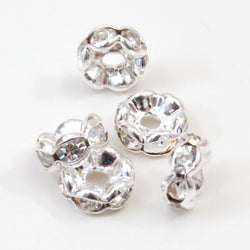Diamante Rondelle Beads (6mm x 3mm) - Silver/Clear, Pack of 20