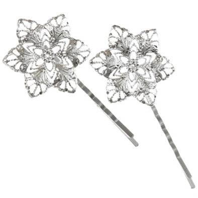 Fancy Hairclips Large - Filigree Flower Pack of 2