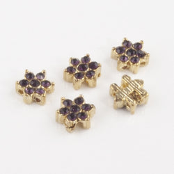 Gold amethyst diamante flower 001