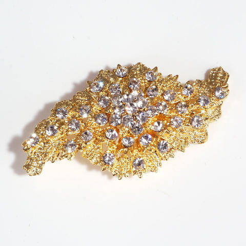 vintage style gold diamante brooch