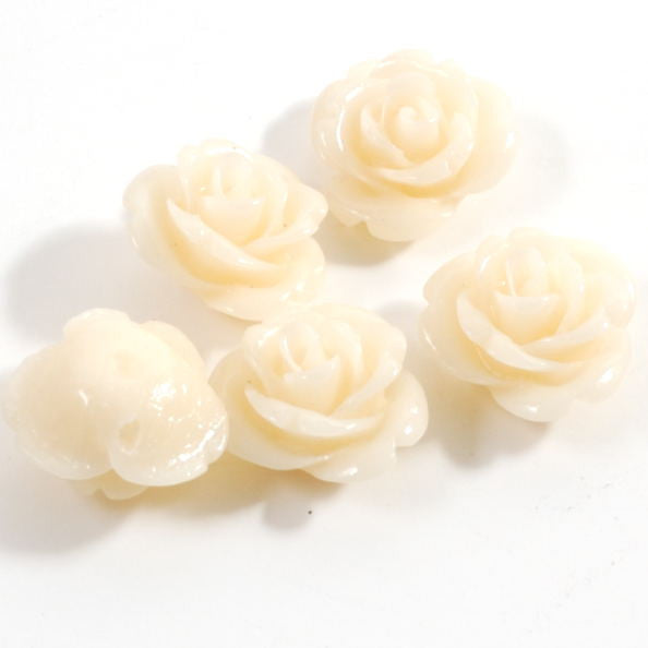 Rose Flower Beads - Ivory (15mm) pack of 5