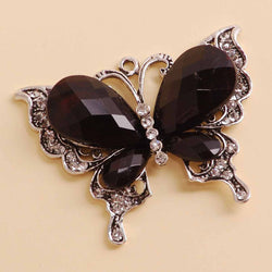 Butterfly pendant black and clear diamantes