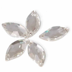 Diamante Flat Back 3cm Long 2 holes Pack of 5