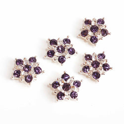 Diamante Star flower beads lavender