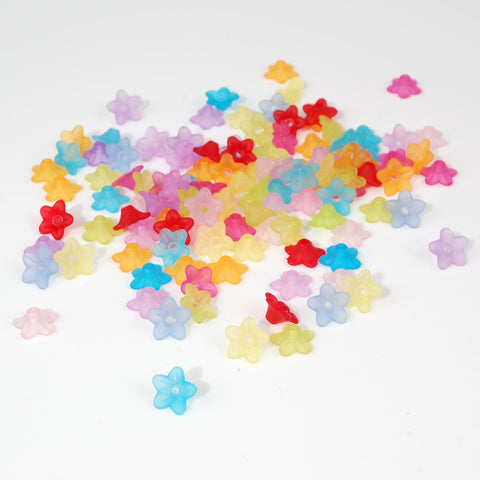 Multi Coloured Frosted Flower Beads 1cm Pack of 50