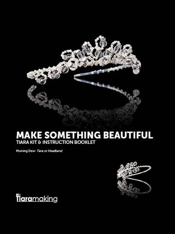 kit and instructions to make the morning dew tiara with pearls crystals and diamante