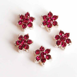 deep pink diamante flower beads