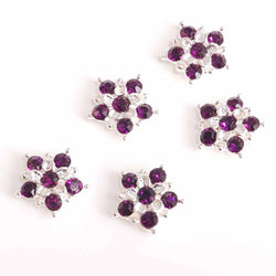 Purple diamante flowers