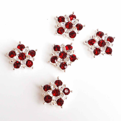 diamante flowers with red stones