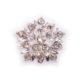 Diamante Findings Button Flower Silver Clear