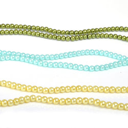 Round Pearl Beads -Spring Mix (Aqua,Lemon,Sage Green) Pack of 3 (6mm)