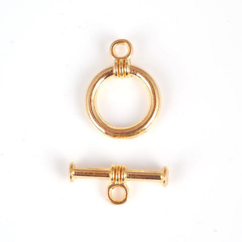 Toggle Clasps (Smooth Round ) 18mm - Gold  (pack of 5)