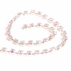 Diamante Trim - Cupchain silver with ab stones