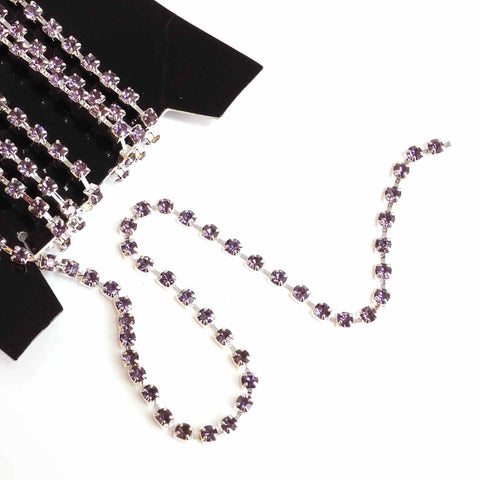 diamante cupchain with lilac purple crystals