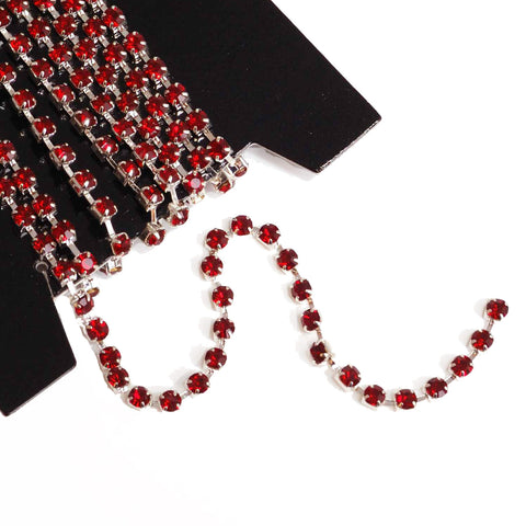 Diamante trim cupchain with red stones ideal for bridesmaids tiaras