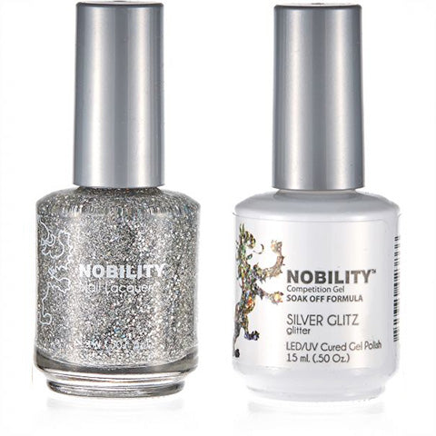 Nobility Gel Polish & Nail Lacquer, Silver Glits