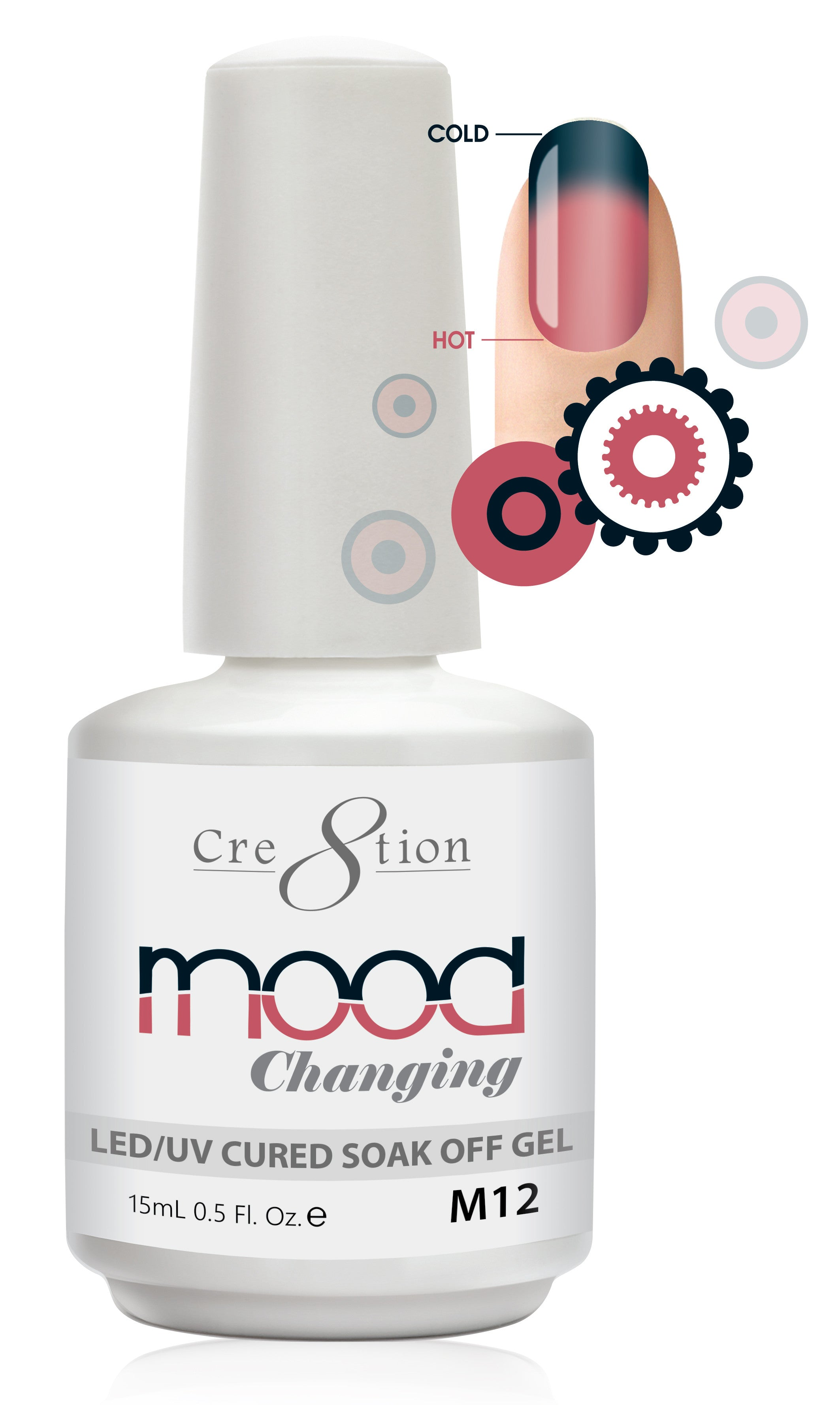 Cre8tion Mood Changing Soak Off Gel M12-Fine Glitter
