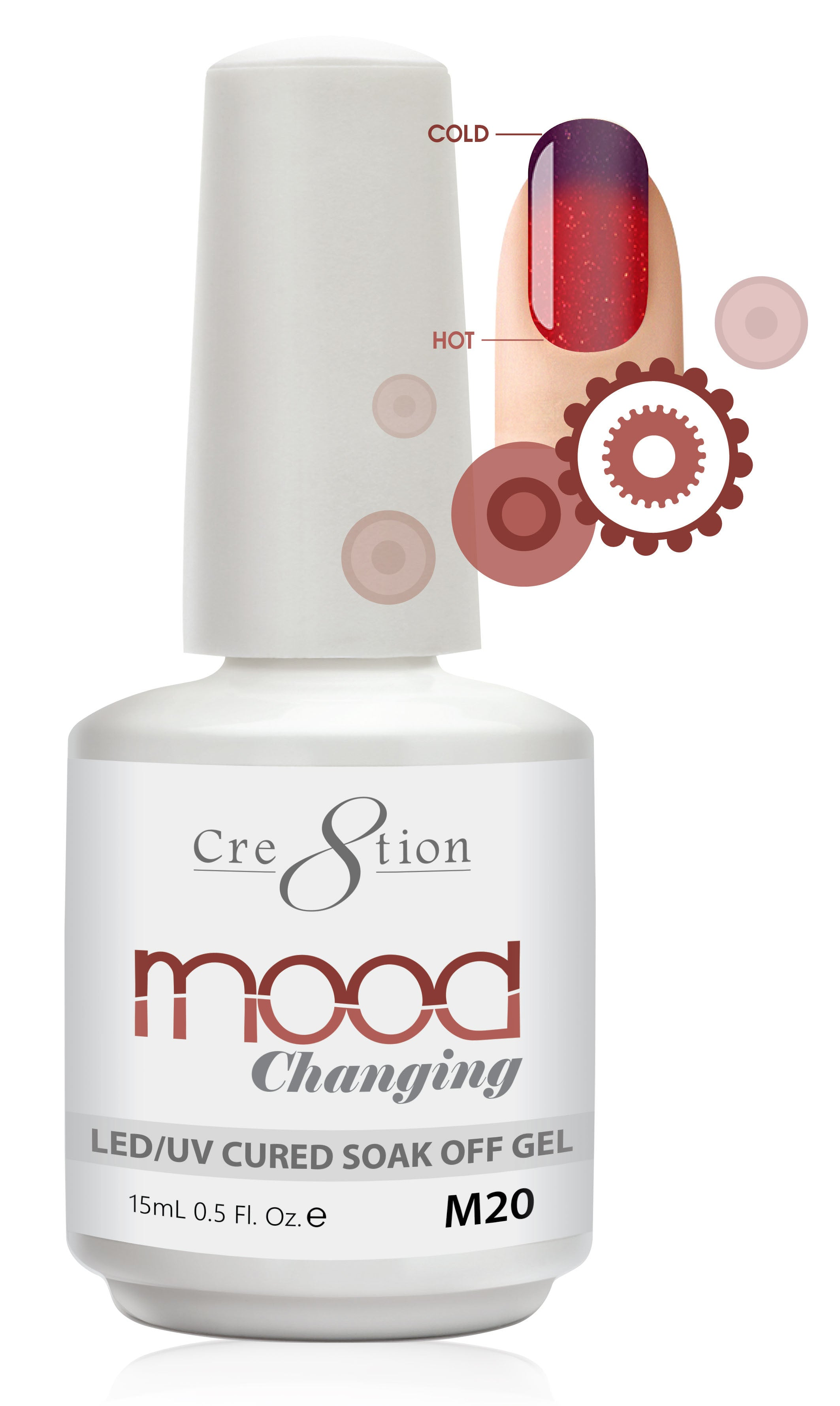 Cre8tion Mood Changing Soak Off Gel M20-Fine Glitter
