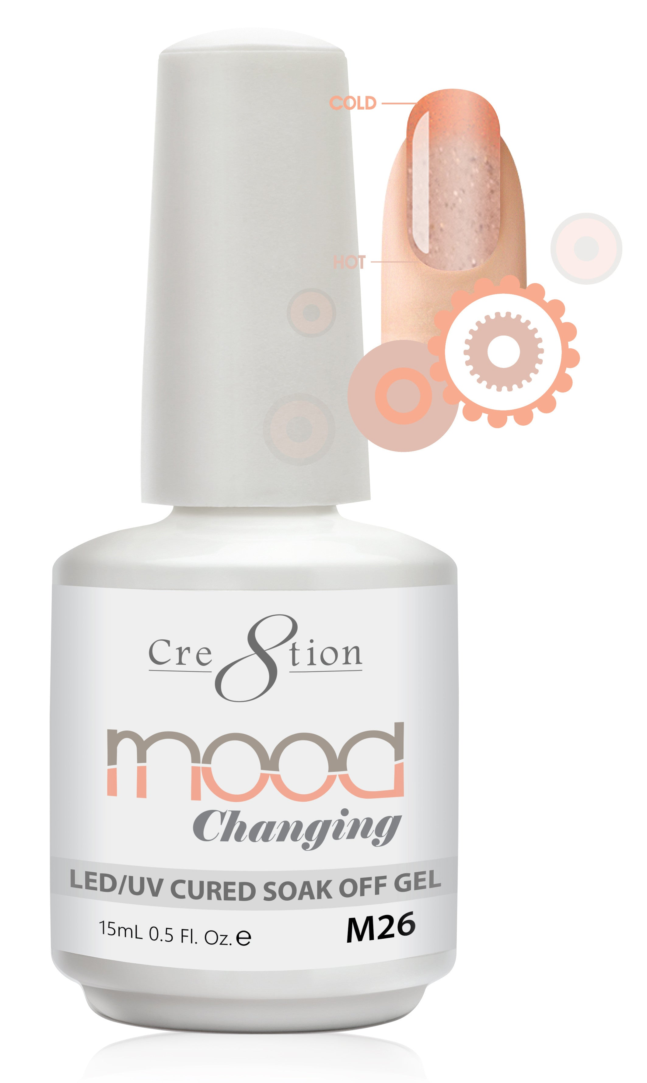 Cre8tion Mood Changing Soak Off Gel M26-Fine Glitter