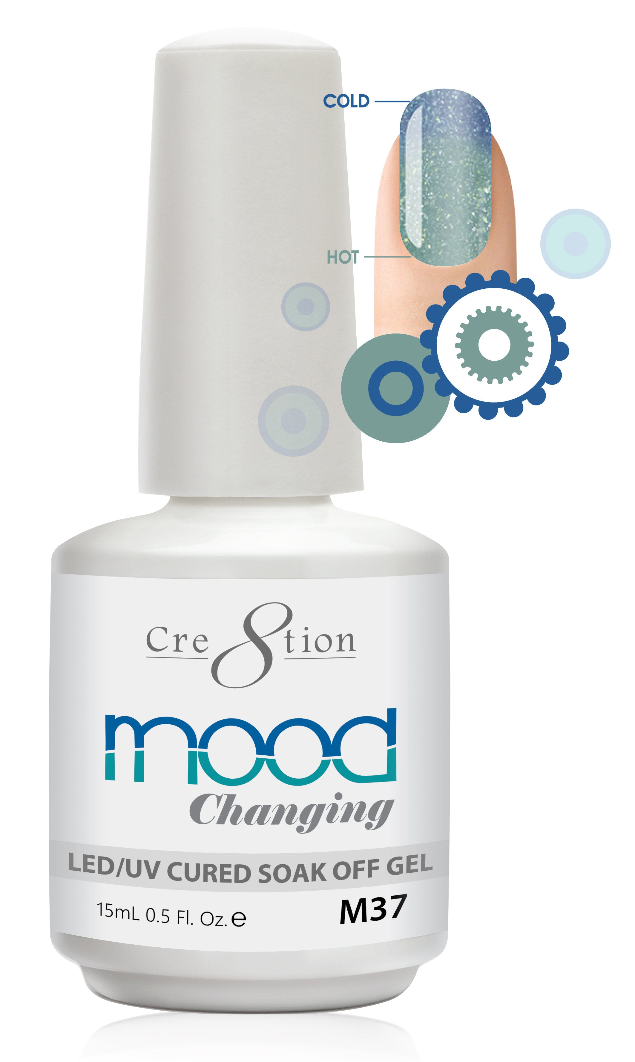 Cre8tion Mood Changing Soak Off Gel M37-Fine Glitter