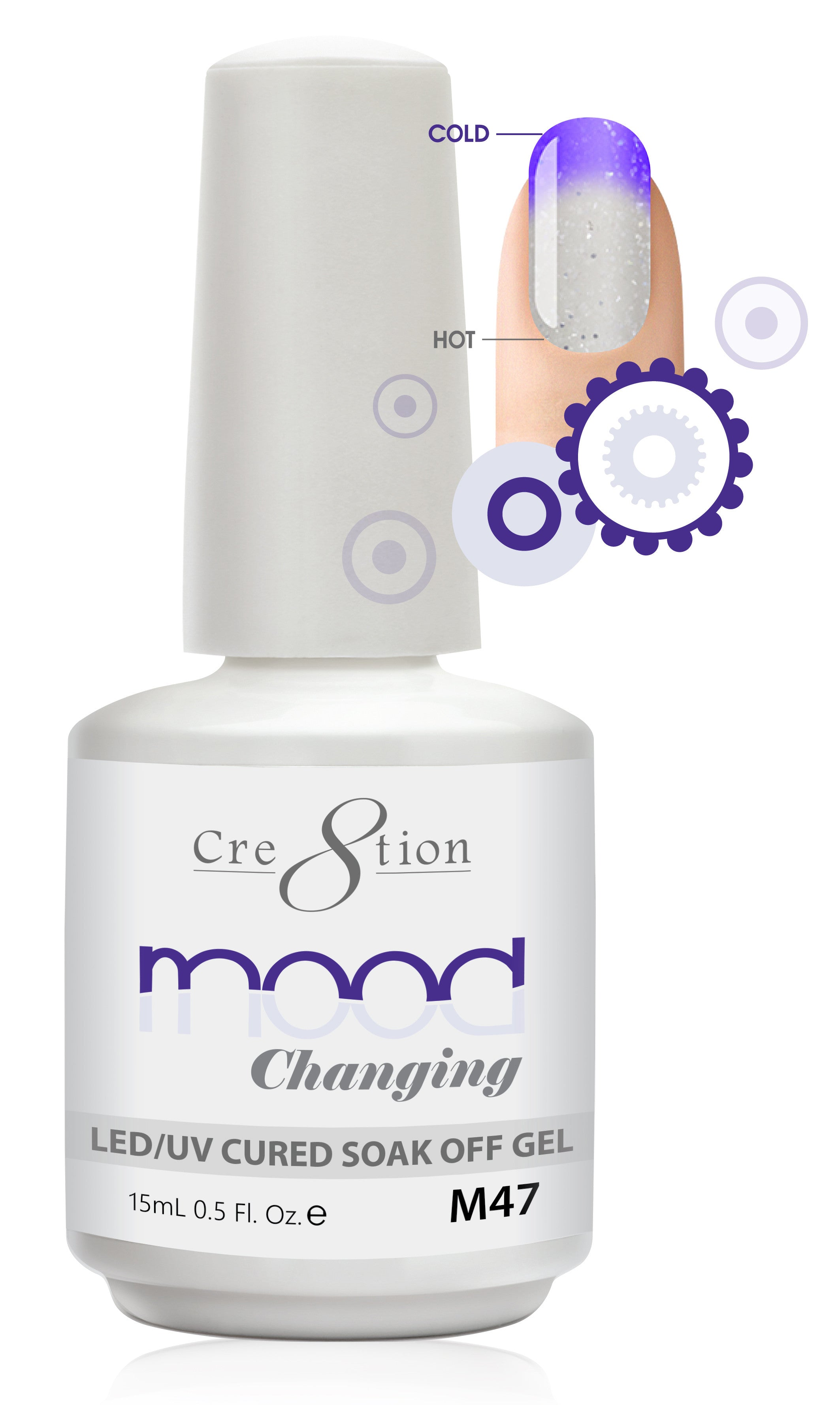 Cre8tion Mood Changing Soak Off Gel M47-Glitter