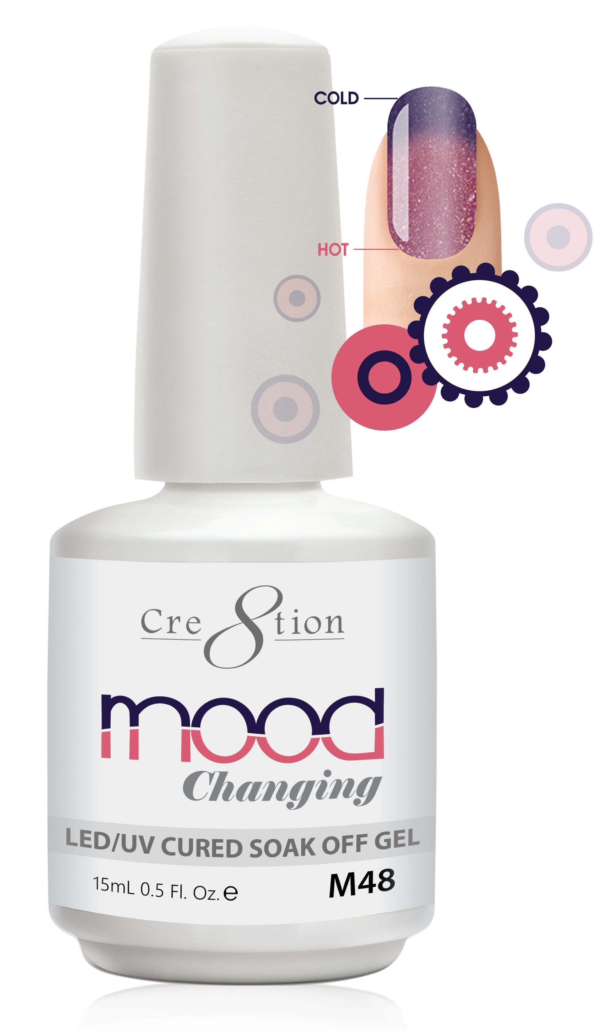 Cre8tion Mood Changing Soak Off Gel M48-Fine Glitter