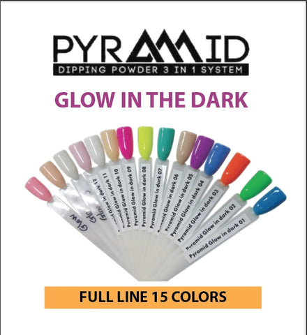 Pyramid Dipping Powder, Glow In The Dark, Full Line Of 15 Colors
