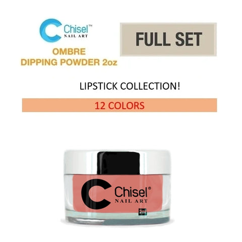 Chisel Nail Art - Dipping Powder - 2oz. Ombre Lipstick Collection 12 Colors - Private color #97A-B to #102A-B