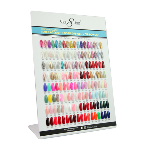 Cre8tion Counter Foam Display Gel- Lacquer-Dip Powder 288 Matching Color Chart B (Color 145-288)