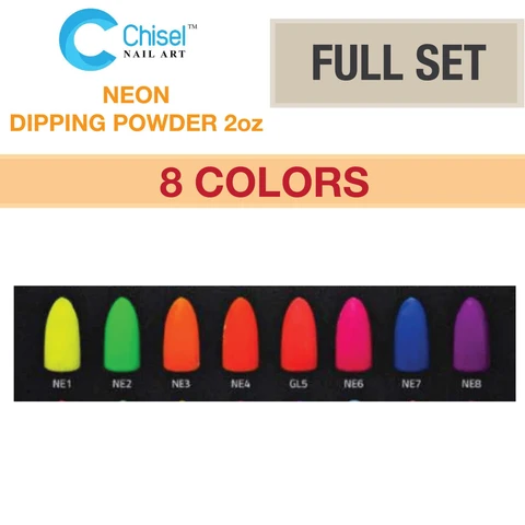 Chisel Nail Art - Dipping Powder -2oz - Neon Collection 8 Colors