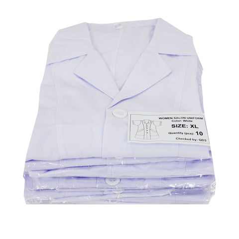 Salon White Uniform Slanted pocket