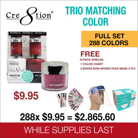 Cre8tion Matching Trio - 2in1 Powder Acrylic And Dip + Gel Polish + Nail Lacquer