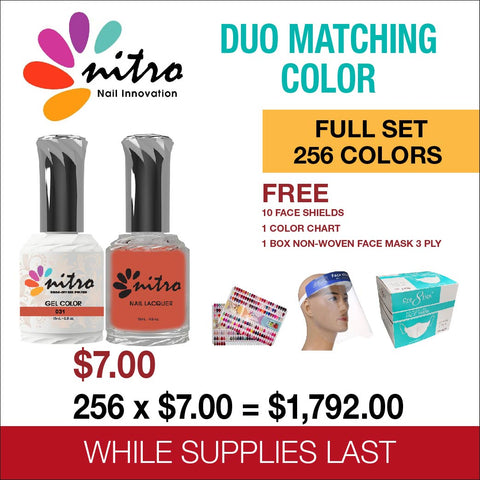 Nitro Matching Color Gel & Nail Lacquer Full Set of 256 Colors