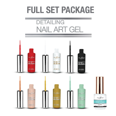 Cre8tion -  Detailing Nail Art Gel - Soak Off Gel Full Set - 42 Colors Collection