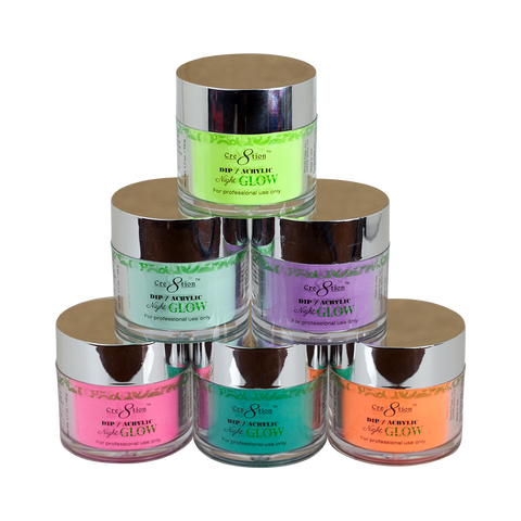 Cre8tion - Dip/Acrylic Night Glow Powder 6 Color Set