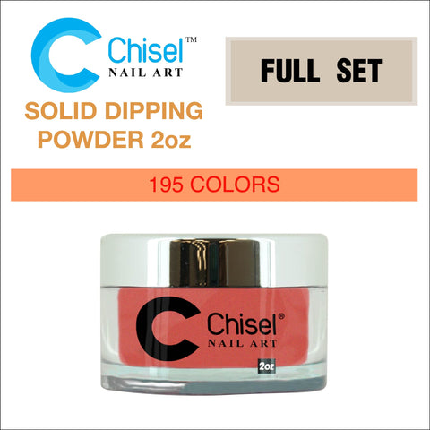 Chisel Nail Art - Dipping Powder - 2oz Solid Full Set Of 195 Colors - $9.00/each