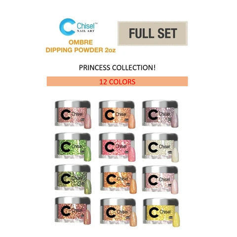 Chisel Nail Art - Dipping Powder - 2oz Ombre Princess Collection 12 Colors - $9.00/each - Private color #91A-B to #96A-B
