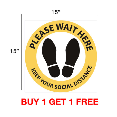 "Cre8tion Social Distance Floor Decal 15""x15"" Yellow Round - Buy 1 Get 1 Free"