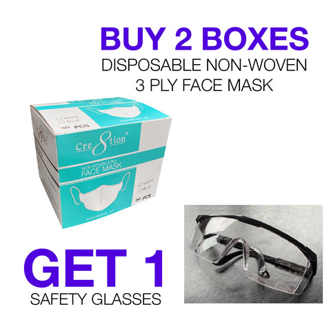 2 boxes Non-Woven Face Mask 3 Ply ( 1 box/each color White/Blue) FREE 1 Safety  Goggles