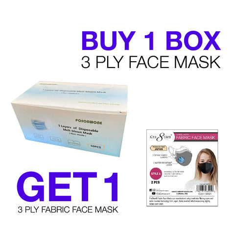 Posonwone 3 Layers of Disposable Melt-blown Mask ( 50pcs./ box)