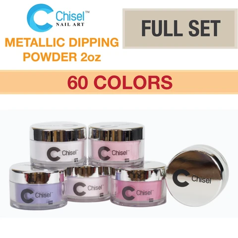 Chisel Nail Art - Dipping Powder -2oz Metallic Standard Full Set Of 60 Colors (from 01A - 30A, 01B - 30B)