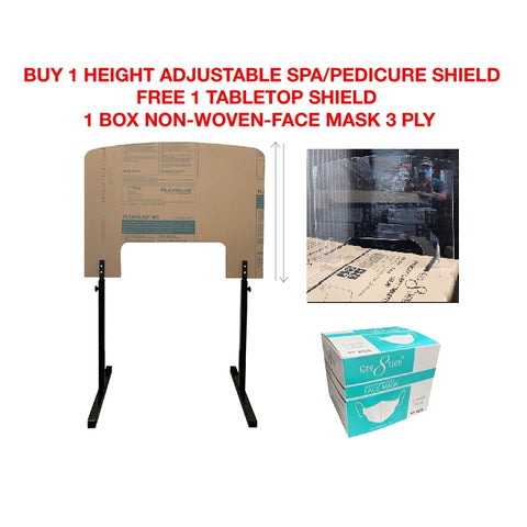 Cre8tion Height Adjustable Spa/Pedicure Shield (Style A) - Free 1 Tabletop Shield & 1 Box Non-Woven-Face Mask 3 Ply (30 pcs./box)
