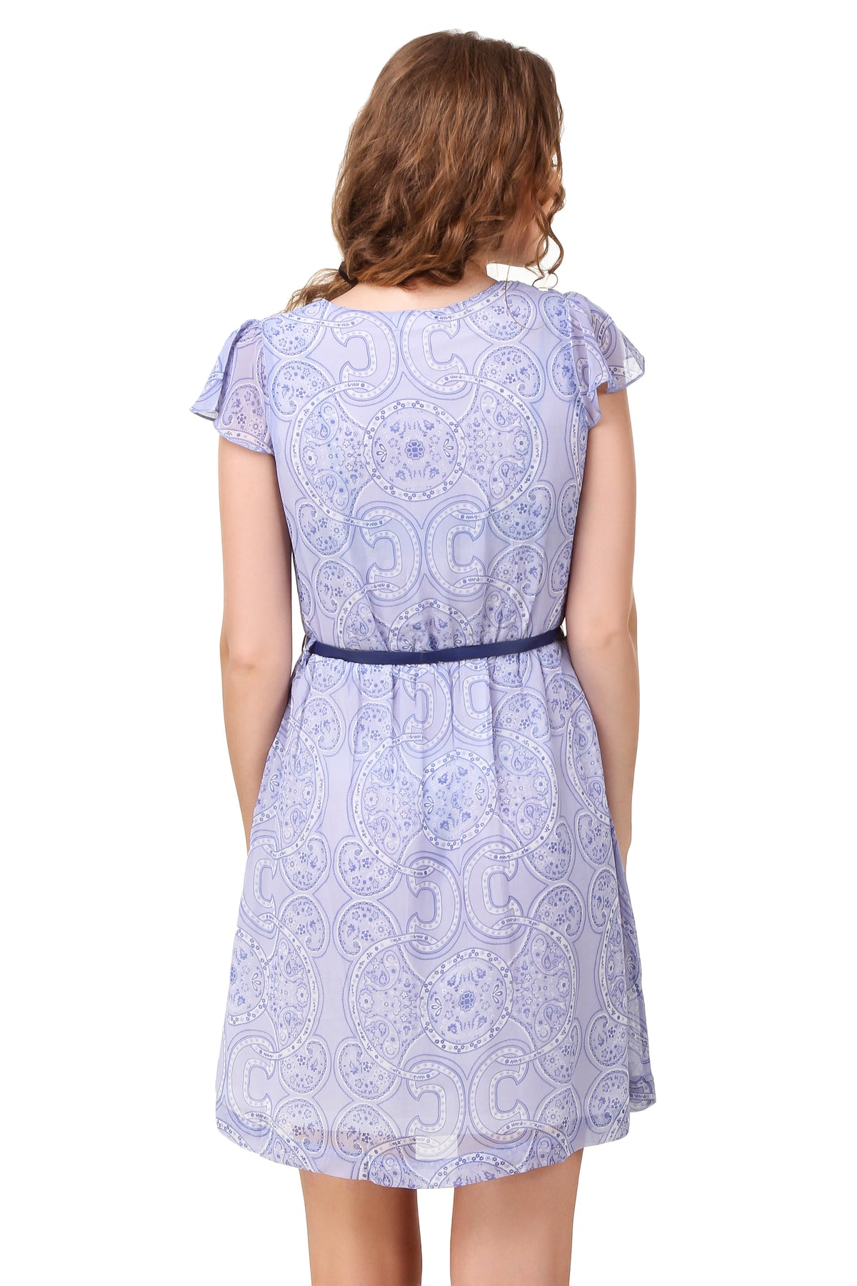 Lace Fit & Flare Dress With Belt